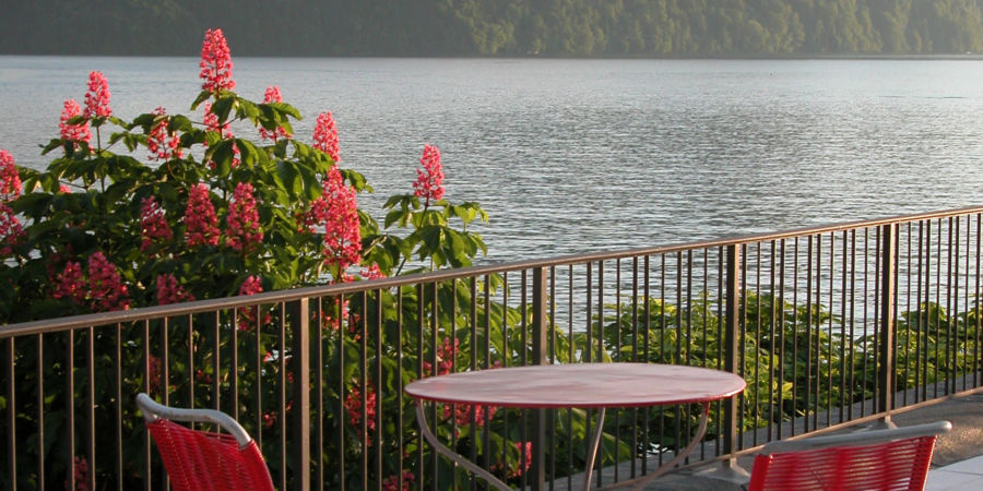 Lakeside terrace of the budget rooms