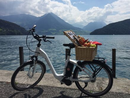 E-bike with picnic basket